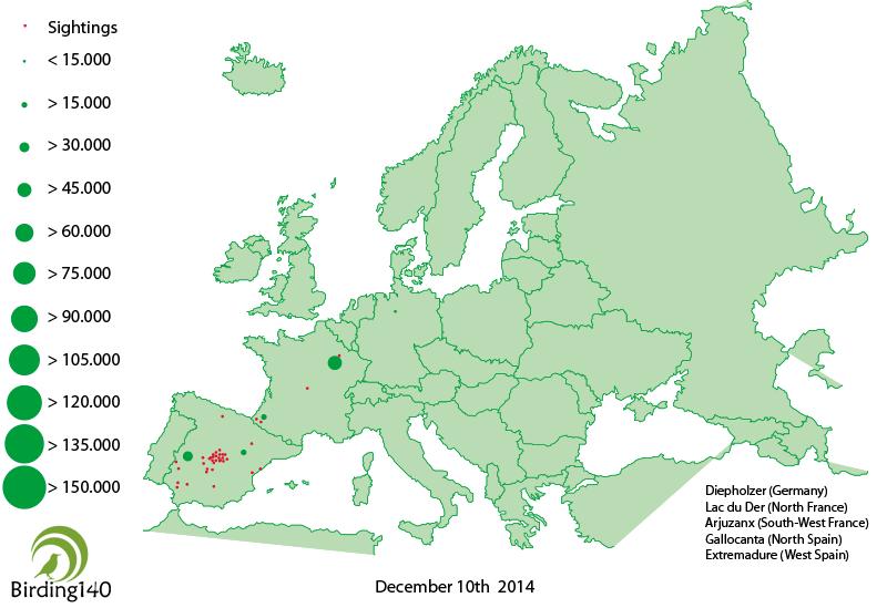 Avistamientos grullas Europa